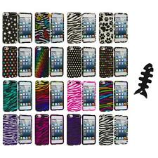Zebra Polka Dot Hard Design Case Cover+Cable Wrap for iPod Touch 5th Gen 5G