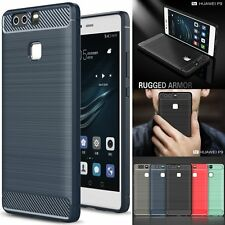 Shockproof Hybrid Brushed Carbon Fiber TPU Soft Case Cover For Huawei Ascend P9