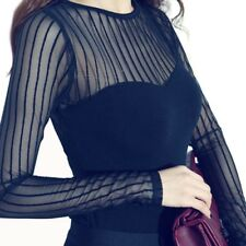 Women Tops T-shirt Sexy Hollow Long Sleeve Slim Lace Cotton Tops