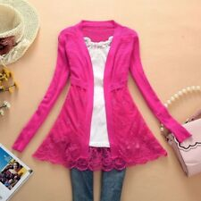Woman Sweater Thin Outerwear Cardigan Cutout Sweater Lace Cardigan Knitted Coat