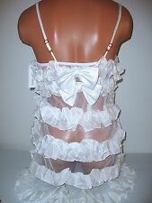 Victoria's Secret White Flora Nikrooz SILK Ruffled Nightie Lingerie Rtl. $102