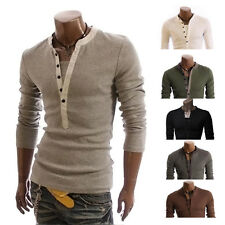 Fashion Mens Button Front Long Sleeve T-Shirt V-neck Casual Slim Fit Shirts d6