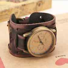 Fashion Mens Womens Retro Cool Punk Rock Leather Band Bracelet Wrist Watch Cool