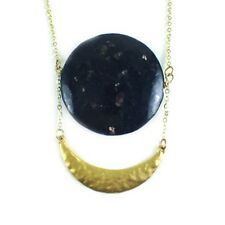 Apatite Moon Necklace Circle Stone Navy Pendant Gold Plated Crescent Jewelry