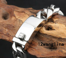 """12mm 7-11"""" MENS Chain Boys Silver Cuban Curb Link 316L Stainless Steel Bracelet"""