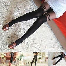 Pantyhose Stockings Women Girl Temptation Black Sexy Sheer Mock Suspender Tights