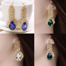 1 Pair Dangle Ear Studs Women Crystal Rhinestone Teardrop Gold Plated Earrings