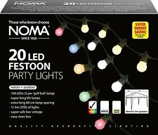 Noma 12m 20 Static Festoon LED Clear or Multi Colour Party Lights