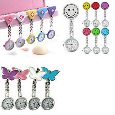 Women's Butterfly Smile Face Quartz Clip-On Brooch Nurse Pocket Watch New Clever