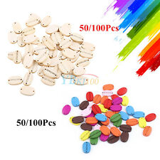 """50/100pcs """"Handmade"""" Oval Mixed Wood Buttons 2 Holes Sewing Scrapbooking Crafts"""
