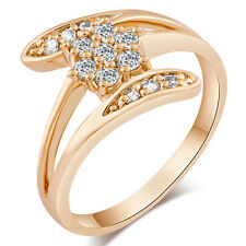Womens Cocktail Fashion Gold Filled Wedding Flower Rings Size 5 7 8 9 Wholesale