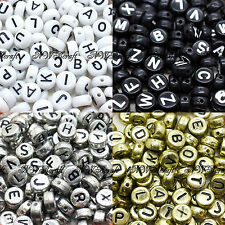200 Mixing Letter Coin Beads A-Z Disc Alphabet Beads Silver Gold White Black