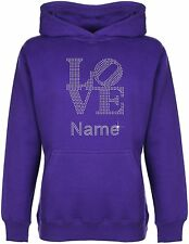 Personalised LOVE Rhinestone Diamante Embellished Kid's Hoodie Gift for Girls
