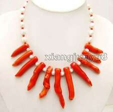 8*70mm Red Branch shape Coral and 7-9mm White Baroque Pearl 18'' Necklac-6161