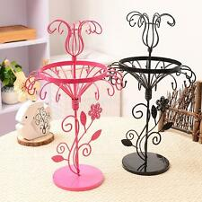 Round Rotating Metal Earrings Display Stand Rack Jewelry Holder Organizer