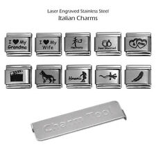 10 Laser Italian Charms 9mm Stainless Steel Bracelet Link Assorted Lot + Tool