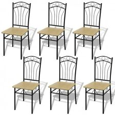 Set of 6 Modern Dining Chairs Steel Frame Light Brown Wooden Kitchen Furniture