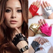 Sexy Womens Half Finger PU Leather Gloves Fingerless Driving Show Gloves Palm