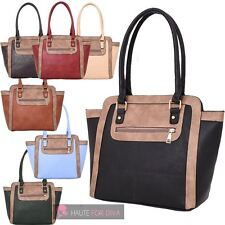 NEW WOMEN'S CONTRAST EDGE ZIP POCKET WING DESIGN FAUX LEATHER TOTE BAG