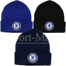 Mens Chelsea Football Club Bronx Cuffed Crest Knitted Beanie Hat One Size