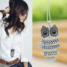 New Women Fashion Vintage Style Bronze Owl Long Chain Necklace Pendant JewelryP