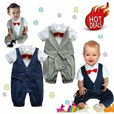 Baby Boy Wedding Christening Formal Tuxedo Suit Romper Outfit Clothes 0-18M