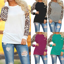 Fashion Women Long Sleeve Loose T-Shirt Ladies Leopard Print Tops New Blouse d1