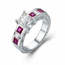 Solid 925 Sterling Silver Cubic Zirconia Crystal Pink Engagemen Ring for Women