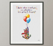 Winnie the Pooh with Balloon Quote Watercolor Baby Shoer Art Print Wall Art Post