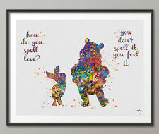 Winnie the Pooh with Piglet LOVE Quote Watercolor illustrations Art Print Wall