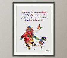 Winnie the Pooh with Piglet Quote Watercolor illustrations Art Print Wall Art 5