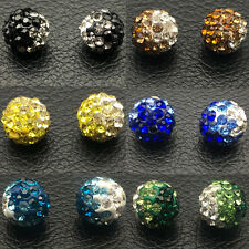 100Pcs Premium Clay Rhinestone Disco Beads CZ Crystal Shamballa Pave Beads 10MM