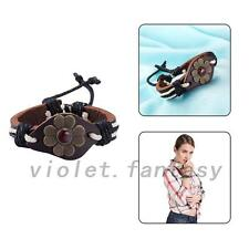 Vintage Style Genuine Leather Tribal Ethnic Charm Bracelet Bangle Wristband Cuff