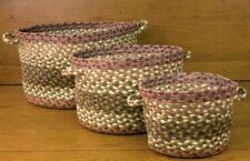BRAIDED JUTE UTILITY/STORAGE BASKETS In 3 SIZES/SET.By EARTH RUGS