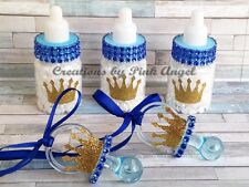 12 Royal Prince Baby Shower Pacifier Favors or Bottle Favors in Blue and Gold