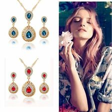 Chic Fashion Water Drop Wedding Bridal Necklace Earrings Set Jewelry Crystal