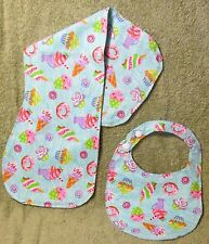 Baby Bib with matching Burp Cloth set g