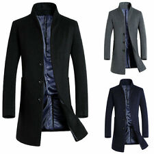 Mens Wool Coat Long Jacket Outerwear Overcoat Trench coat Black Navy Grey
