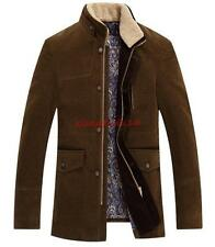 Mens Slim fit Trench Wool Blend Stand collar Blazer Fashion Jacket Coat Oversize