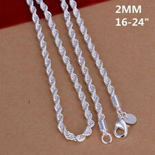 Fahshion Jewelry Choker Wrest Rope Chain Silver Plated 16-24 Inch Necklace