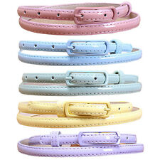 Women Long Pin Buckle Thin Slim PU Leather Belt Skinny Candy Color Belts NY061