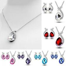 Fashion Chic Crystal Stud Earring Set Pendant Necklace Silver Plated
