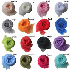 Womens Girl Candy Color long soft silk chiffon neck scarf Wrap Shawl Scarve