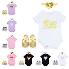 3PCS Baby Girls Romper Minnie Mouse Newborn Outfit Headband Shoes Bows Set Party