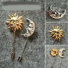 1pc Fashion Men Gold Silver Sun Moon Lapel Stick Pin Tie Hat Scarf Brooch Badge