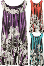 Plus Womens Sleeveless Long Swing Sequin Floral Print Ladies Flared Top 14-28