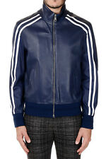 NEIL BARRETT Man New Blue Skinny Fit Leather Jacket Made in Italy Original