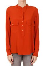 STELLA MCCARTNEY New woman Orange Silk Buttons long sleeve Blouse NWT