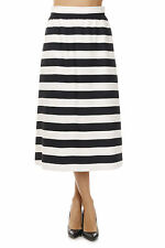 VALENTINO new woman Black White Striped wool Silk Made in Italy NWT