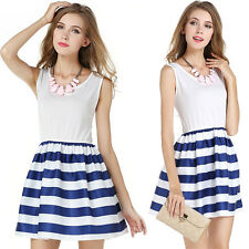Sexy Women Summer Casual Sleeveless Short Mini Dress Casual Striped Sundress US
